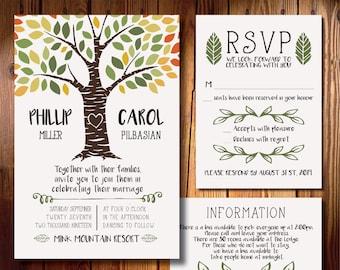 Fall For You Printed Wedding Invitation
