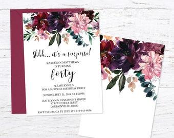 Floral Birthday Party Invitation