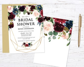 Burgundy Bridal Shower Invitation Invitation