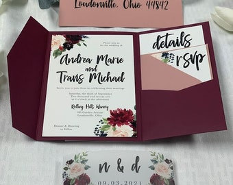 Pocket Wedding Invitation, The Andrea Suite, Available in 85+ Colors