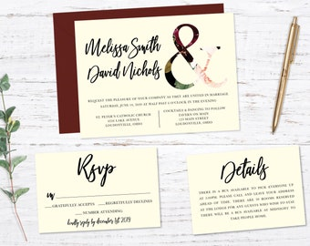 Script Printed Wedding Set