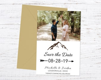Save the Date Magnet OR Printed Card, Photo Save the Date, Adventure, Forest, Mountain Theme