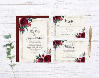 Winter Wedding Printed Wedding Invitation
