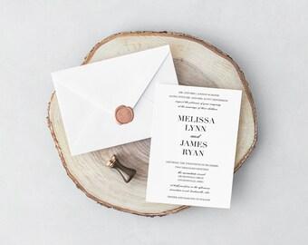 Minimalist Printed Wedding Invitation