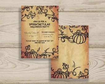 Halloween Party Printed Invitations + Fast Shipping