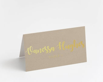 Printed Place Card, Gold Foil, Kraft paper