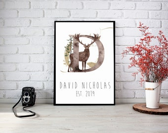 Nursery Framed Wall Print Into the Wild with Initial and name