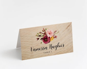 Printed Place Card, Rustic Autumn
