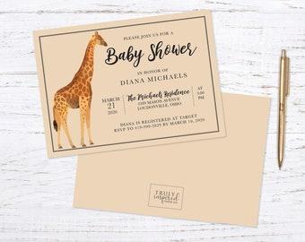 Baby Shower Invitation, Giraffe baby shower invite,  Animal baby shower invitation
