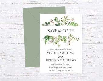 Save the Date Magnet OR Printed Card, Save our Date, Greenery, Eucalyptus