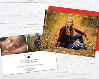 Graduation Announcement, Graduation Invitation, Photo Graduation Announcement, 2 Sided Printed Graduation Announcement, Envelopes Included