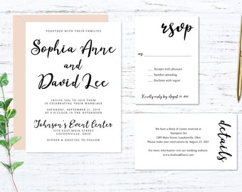 Script Printed Wedding Set