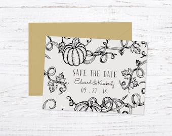 Save the Date Magnet OR Printed Card, Rustic, Country, Fall, Halloween, Pumpkin, Vines
