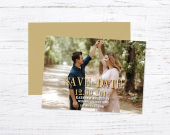 Save the Date Magnet OR Printed Card, Gold, Photo Save the Date