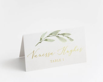 Printed Place Card, Gold Foil, Minimal Greenery