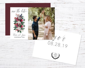 Burgundy Floral Save the Date Magnet OR Printed Cards + Fast Shipping, Photo Magnet