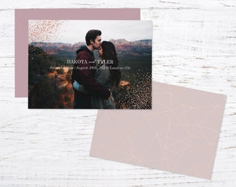 Save the Date Magnet OR Printed Card, Rose Gold Photo, Glitter, Confetti