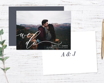 Save the Date Magnet OR Printed Card, Modern Script, Photo