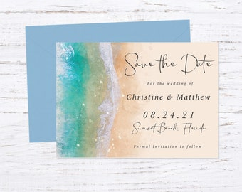 Save the Date Magnet OR Printed Card, Beach Wedding, Destination Wedding, Save our Date, Envelope included
