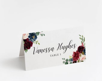 Printed Place Card, Burgundy & Blush