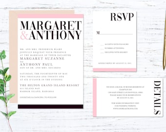 Burgundy and Blush Printed Wedding Invitation