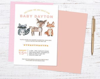 Oh Deer! Printed Baby Shower Invitations + Fast Shipping!