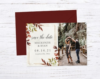 Save the Date Magnet OR Printed Card, Save our Date, Fall Wedding,Rustic Wedding, Fall Greenery
