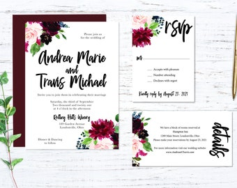 Burgundy Garden Printed Wedding Invitation