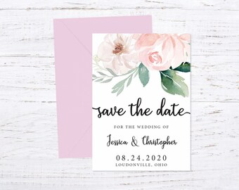Save the Date Magnet OR Printed Card, Save our Date, Blush, Envelope included