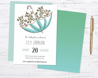Showered with Love Printed Baby or Bridal Shower Invite + Fast Shipping
