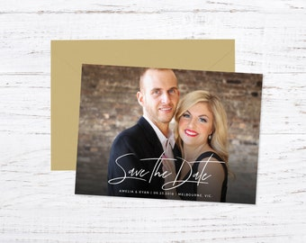 Save the Date Magnet OR Printed Cards, Photo Save the Date, Script