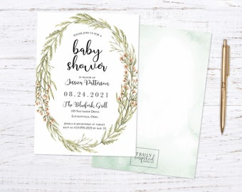 Baby Shower Invitation, Rustic baby shower invite, Greenery baby shower, Rustic Wreath