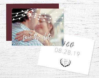 Save the Date Magnet OR Printed Card, Photo Save the Date, Rustic, Country, Fall, Summer