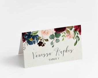 Printed Place Card, Burgundy and Blush Garden