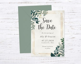Save the Date Magnet OR Printed Card, Save our Date, Enchanting Garden, Envelope included