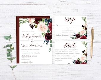 Burgundy Garden Woodland Printed Wedding Set