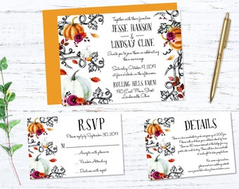 Autumn Printed Wedding Invitation
