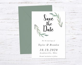 Save the Date Magnet OR Printed Card, Save our Date, Sage, Envelope included