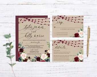 Kraft Rustic Lights Printed Wedding Set