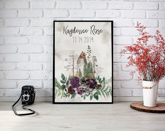 Nursery Framed Wall Print Into the Wild with Name and Birthdate