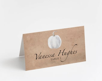 Printed Place Card, Rustic Pumpkin