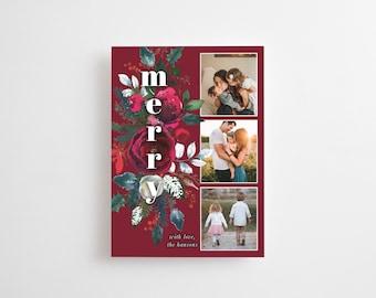 Christmas Photo Card Printed, Christmas Greeting Card, Merry Christmas Card, holiday card, holiday photo card