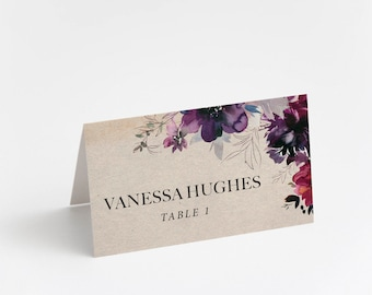 Printed Place Card, Rustic Plum