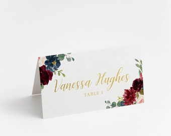 Printed Place Card, Gold Foil, Burgundy and blush