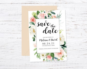 Save the Date Magnet OR Printed Card, Save our Date, Ethereal Blush, Floral, Envelope included