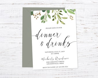 Party / Dinner & Drinks / Summer / Greenery / Foilage /Printed Invitation + Fast Shipping
