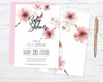 Cherry Blossom Baby or Wedding Shower Printed Invitations + Fast Shipping