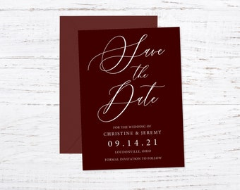 Save the Date Magnet OR Printed Card, Save our Date, Burgundy, Envelope included
