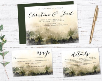 Rustic Watercolor Forest Printed Wedding Invitation