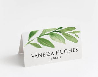 Printed Place Card, Elegant Greenery